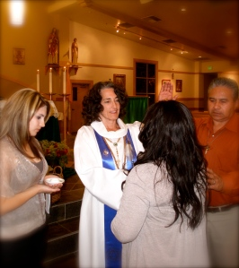 Rev. Susi at a large healing service in CA in 2011