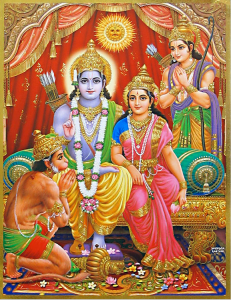 Rama and Sita, with Lakshman and Hanuman